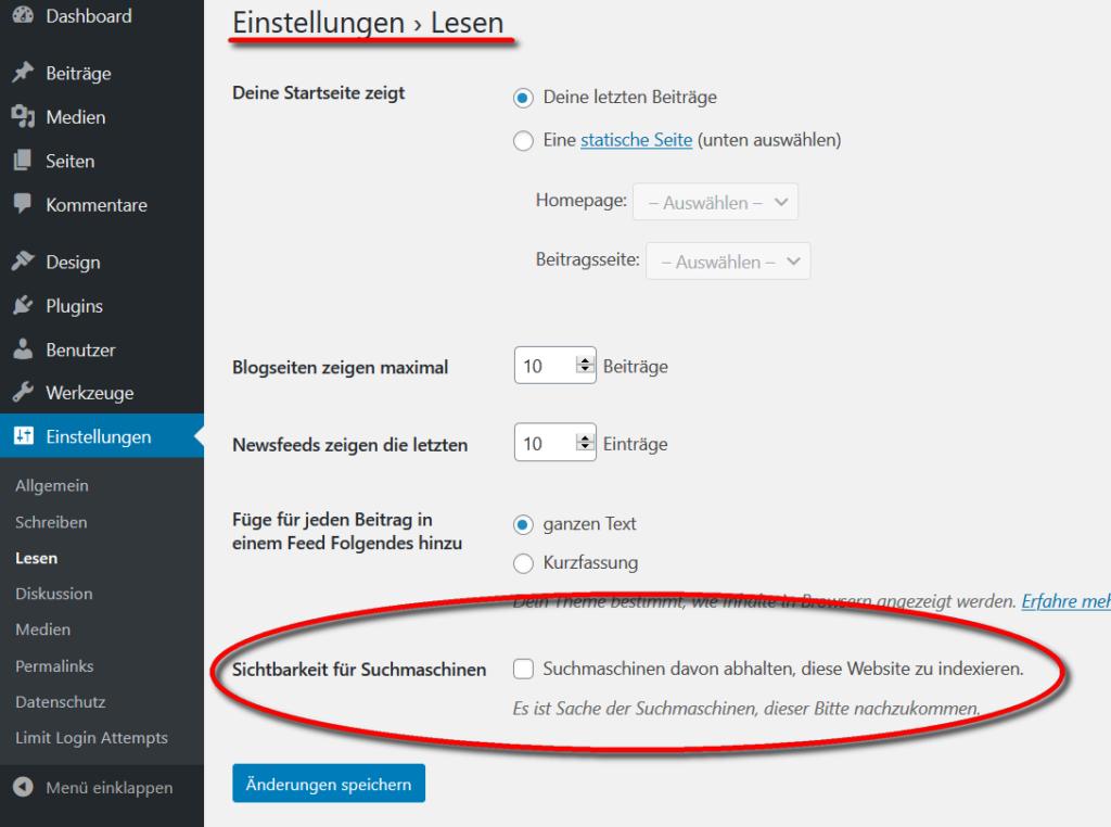 Im Backend von WordPress wird  die Sichtbarkeit für Suchmaschinen global eingestellt. Damit ist eine Indexierung möglich.