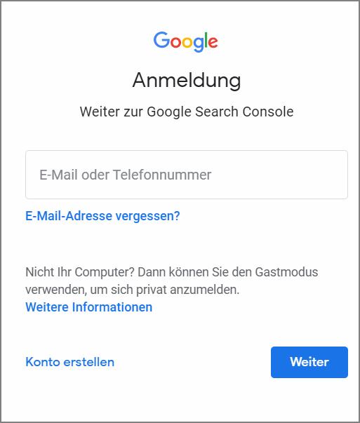 Anmeldung zum Google Konto mit E,Mail und Passwort