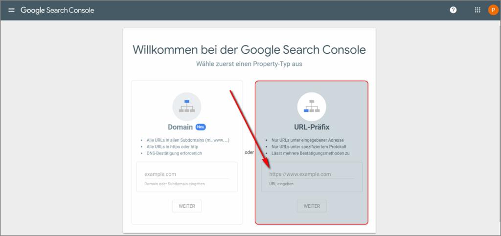 Auswahl des Verifizierungsverfahren bei Google Search Console
