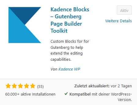 Kadence Blocks im Pluginverzeichnis von WordPress
