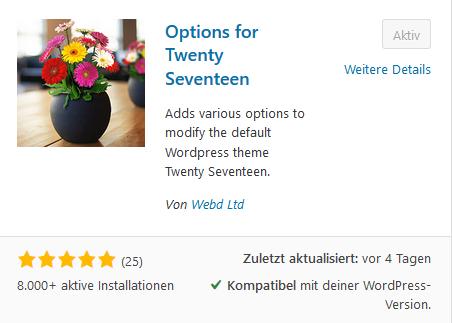 Options for Twenty Seventeen im Pluginverzeichnis von WordPress