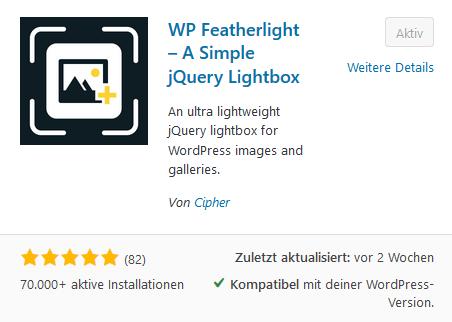 WP Featherlight im Pluginverzeichnis von WordPress