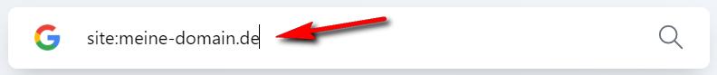 Google Indexierung im Suchfeld überprüfen mit site:meine-domain.de.