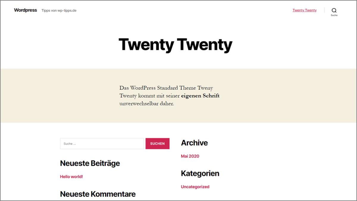 WordPress Theme Twenty Twenty