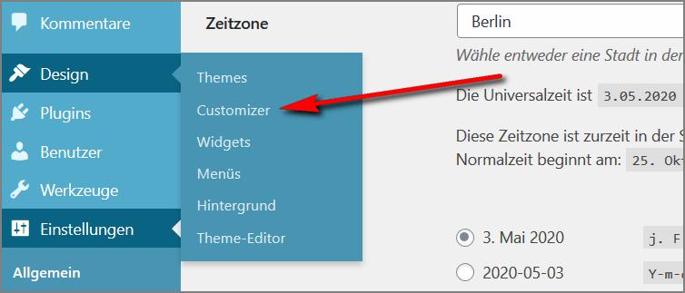 So erreichst du den Customizer im WP Theme Twenty Twenty.