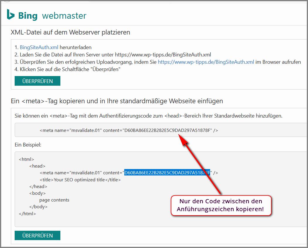 Inex Bing Webmaster Verifizierung WordPress für Anfänger