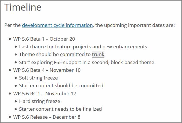 Zeitstrahl für die Veröffentlichung von WordPress 5.6