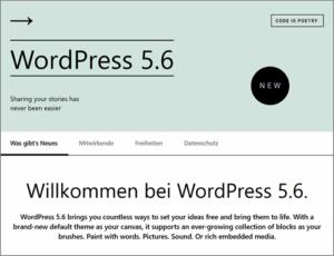 Wordpress 5.6 erscheint am 08. Dezember 2020.