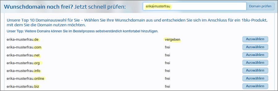 Die Wunsch-Domain kann man auf 1blu.de einfach prüfen. Dieser Schritt gehört zur Planung einer Website dazu.