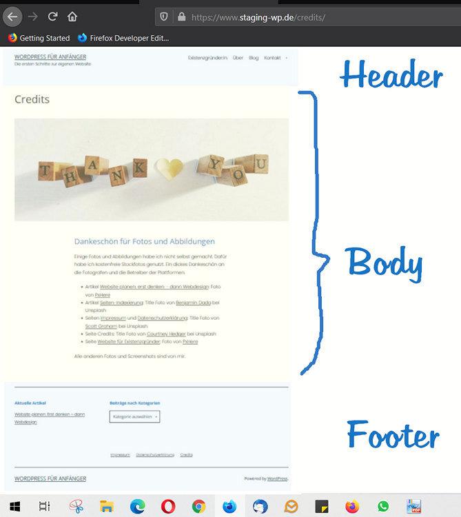 04 Header Body Footer WordPress für Anfänger