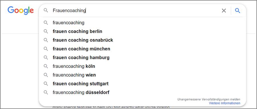 Alternative Keyword Vorschläge von Google