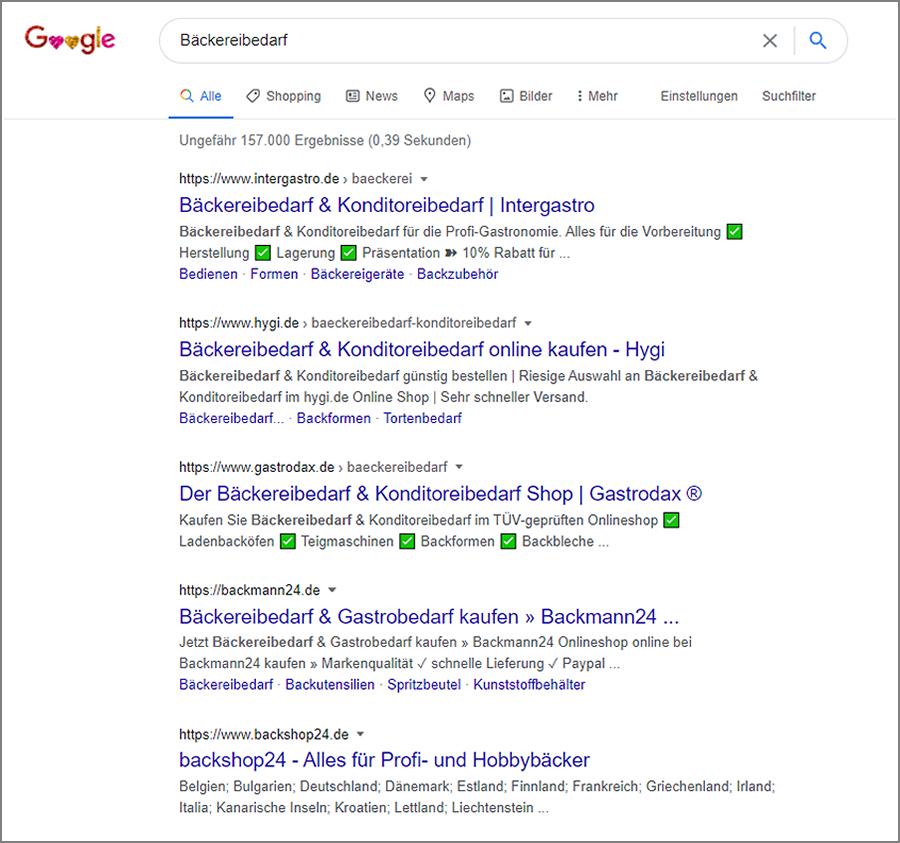 Eine SERP von Google zum Thema SEO für Anfängerinnen