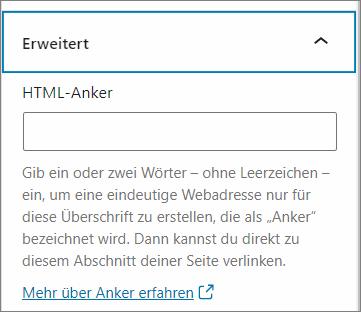 HTML-Anker im Block-Editor von WordPress setzen