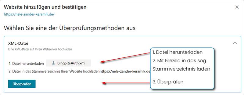 BingSiteAuth.xml herunterladen und im Stammverzeichnis deiner Website ablegen, um die Inhaberschaft bei Bing zu überprüfen.