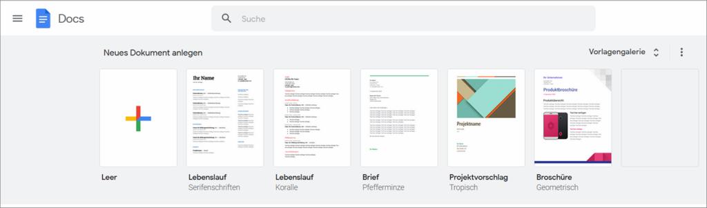Einstiegsseite zu Google Docs