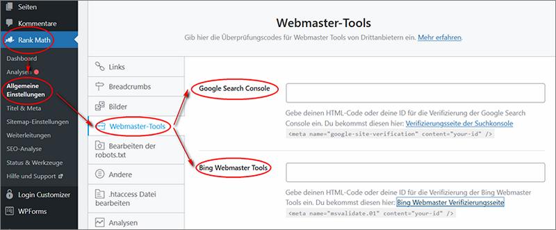 Beispiel für die das RankMath Webmastertool um den Bing Authentifizierungs-Code einzutragen.