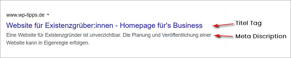 Beispiel für Title-Tag und Meta-Discription bei der Google SERP