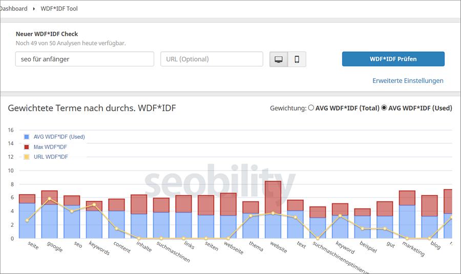Seobility.net Ergebnisanzeige wdf*idf Tool