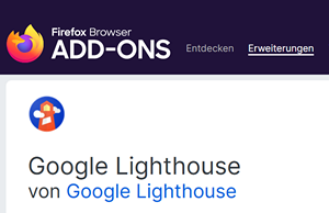 Lighthouse als Firefox Add-On